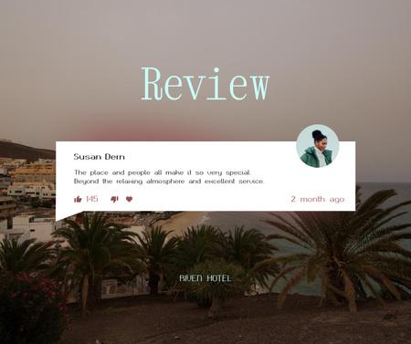 Plantilla de diseño de Visitor Review with Summer Cityscape Facebook