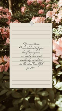 Love Quote on floral Garden Instagram Story Design Template
