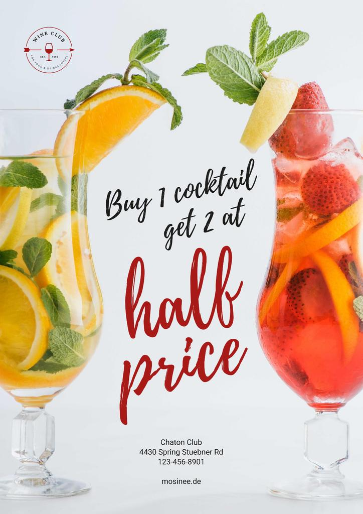 Half Price Offer with Cocktails in Glasses — Modelo de projeto