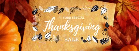 Thanksgiving Sale Offer with Pumpkins Facebook cover Tasarım Şablonu