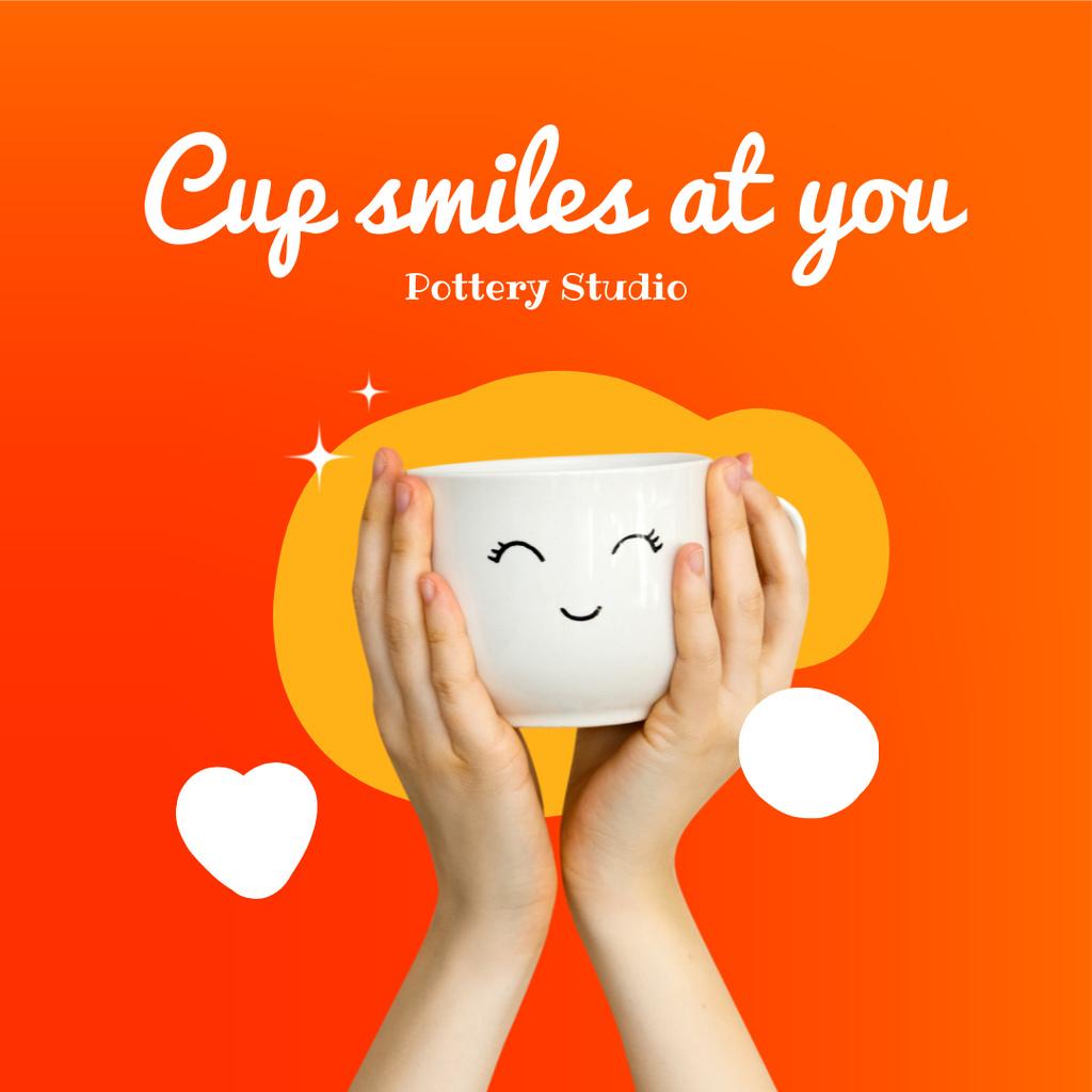 Designvorlage Pottery Studio Ad with Cute Smiling Ceramic Cup für Instagram
