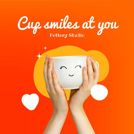 Pottery Studio Ad with Cute Smiling Ceramic Cup Instagram Design Template