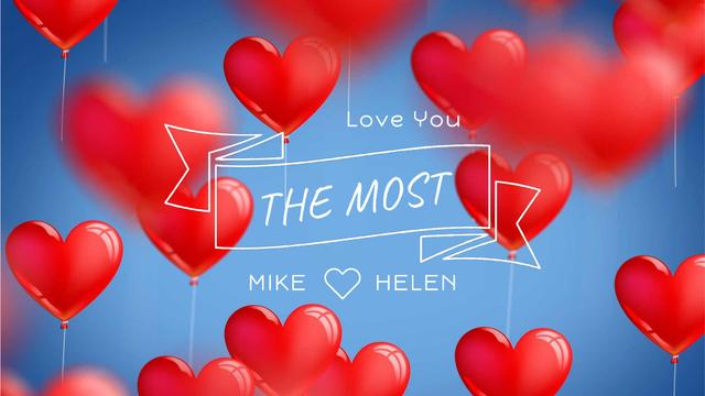 Ontwerpsjabloon van Full HD video van Red heart-shaped Balloons for Valentine's Day