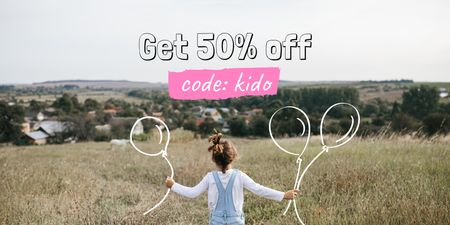 Plantilla de diseño de Kids' Clothes Sale with Girl in field Twitter