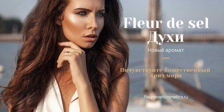 New perfume Ad with beautiful young woman Image – шаблон для дизайна