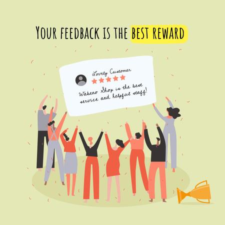 Funny Illustration of People greeting Customer's Review Instagram – шаблон для дизайна