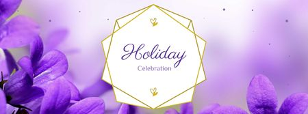 Holiday Celebration Announcement with Violets Flowers Facebook cover – шаблон для дизайну