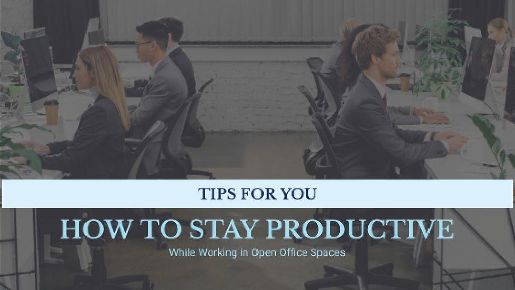 Ontwerpsjabloon van Title van Productivity Tips Colleagues Working in Office