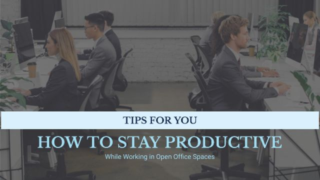 Productivity Tips Colleagues Working in Office Title Design Template