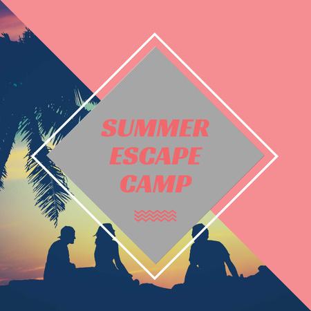 Summer Camp friends at sunset beach Instagram AD Modelo de Design