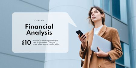 Financial Analysis concept with Businesswoman Twitter Design Template