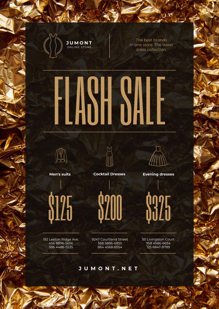 Clothes Store Sale with Golden Shiny Background — Maak een ontwerp