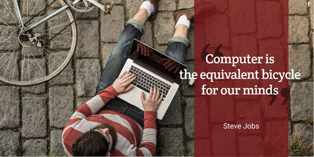 Motivational Quote with Young Man using laptop Twitter Design Template