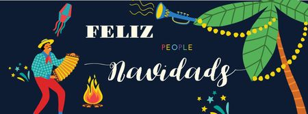 Plantilla de diseño de Feliz Navidad Greeting with Spanish Accordionist Facebook cover
