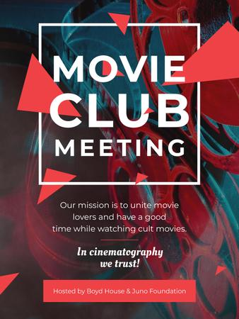Plantilla de diseño de Movie Club Meeting Vintage Projector Poster US