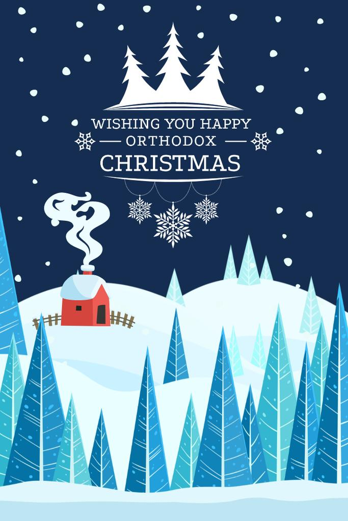 Christmas Greeting with Snowy Landscape Pinterest Design Template