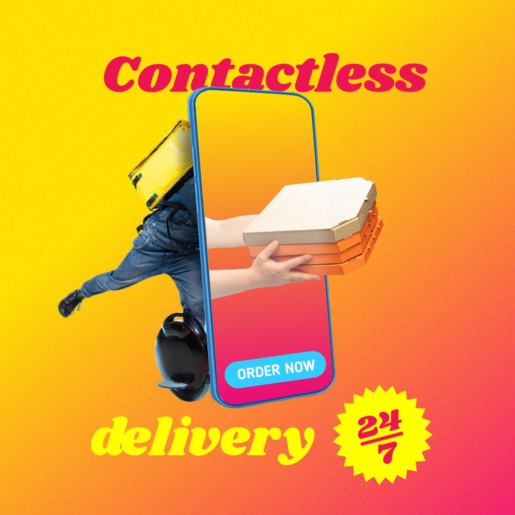 Funny Illustration of Contactless Delivery Instagram Modelo de Design
