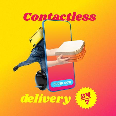 Modèle de visuel Funny Illustration of Contactless Delivery - Instagram