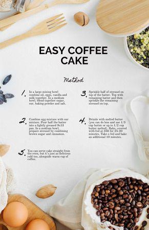 Coffee Cake cooking Ingredients Recipe Card – шаблон для дизайну