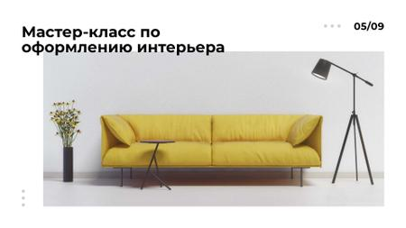 Furniture ad with Sofa in yellow FB event cover – шаблон для дизайна