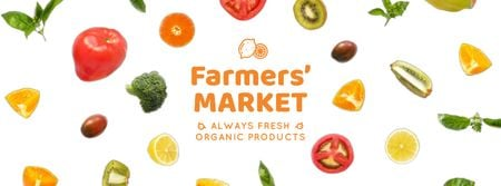 Market Ad Rotating Circles of Vegetables and Fruits Facebook Video cover Design Template