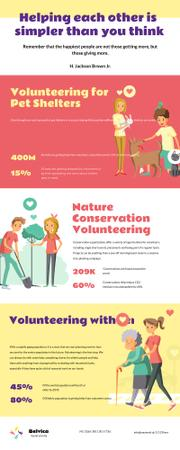 Plantilla de diseño de List infographics about Volunteering Infographic