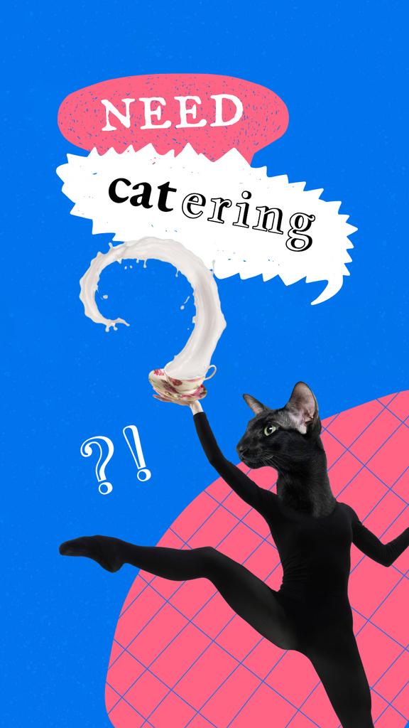 Plantilla de diseño de Funny Black Cat with Female Dancer Body Instagram Story