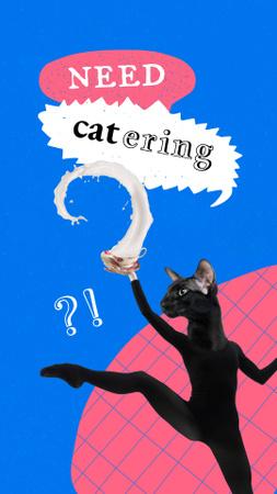 Ontwerpsjabloon van Instagram Story van Funny Black Cat with Female Dancer Body