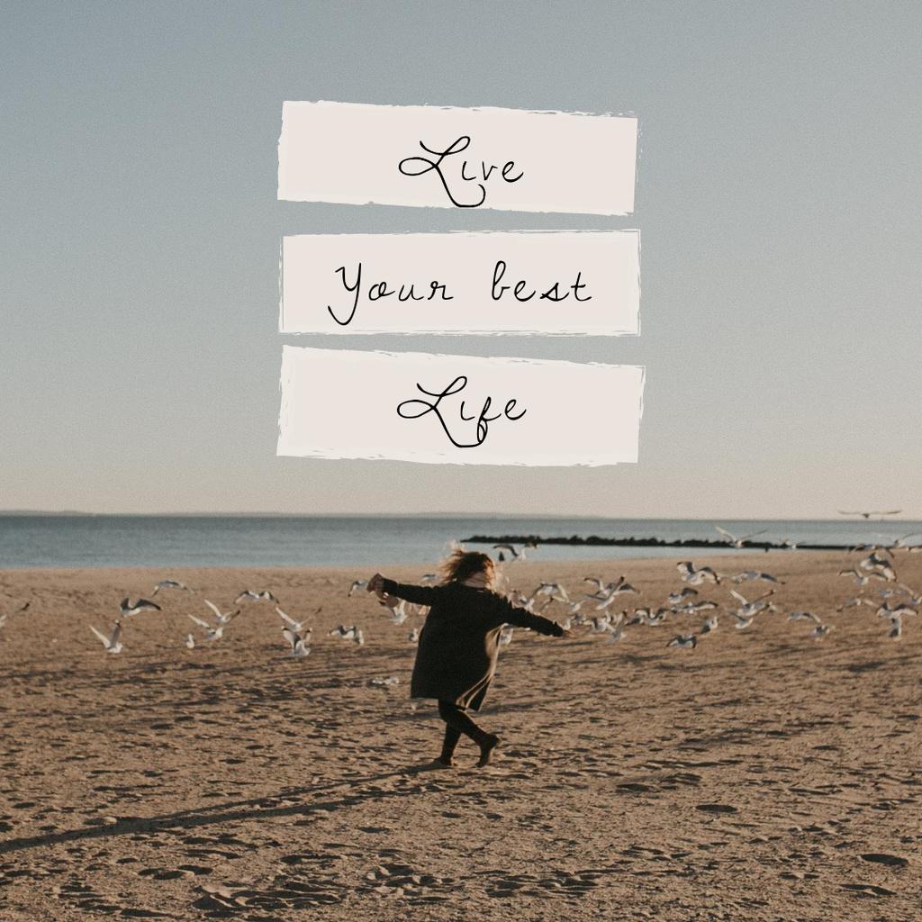 Happy Girl dancing at the Beach Instagram – шаблон для дизайна