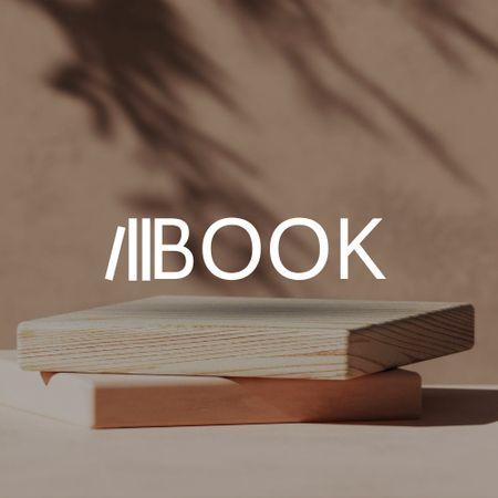 Bookstore Ad with Wooden Cubes Logo – шаблон для дизайну