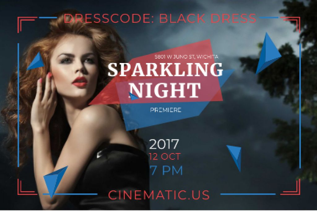 Sparkling night party Annoucement Gift Certificate – шаблон для дизайна