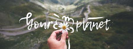 Modèle de visuel Eco Concept with Daisy Flower and Mountains - Facebook cover