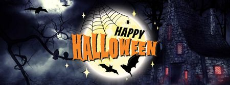 Halloween Greeting with Dark Castle Facebook cover Modelo de Design