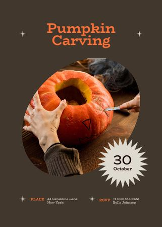Halloween Pumpkin Carving Announcement Invitation – шаблон для дизайна