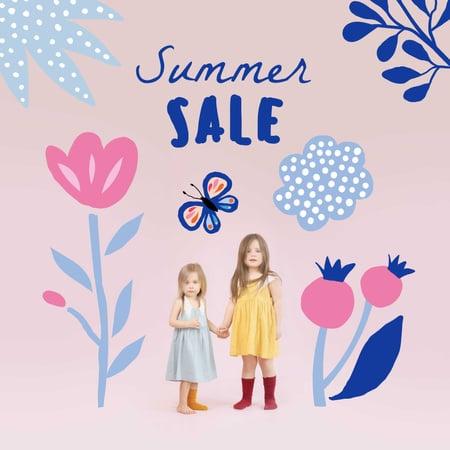 Summer Sale Announcement with Cute Little Girls Instagram – шаблон для дизайну