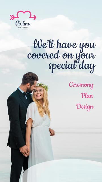 Wedding Planning Services with Happy Newlyweds Instagram Story Design Template
