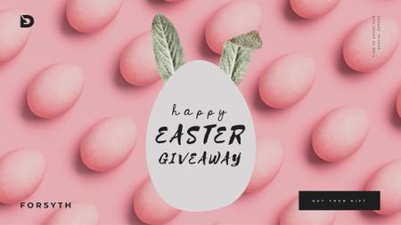 Easter eggs with bunny ears in pink Full HD videoデザインテンプレート