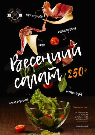 Spring Menu Offer with Salad Falling in Bowl Poster – шаблон для дизайна