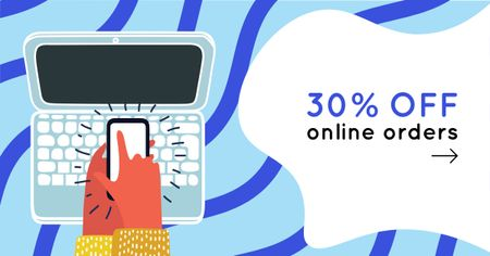 Device Discount Offer with Laptop illustration Facebook AD Modelo de Design