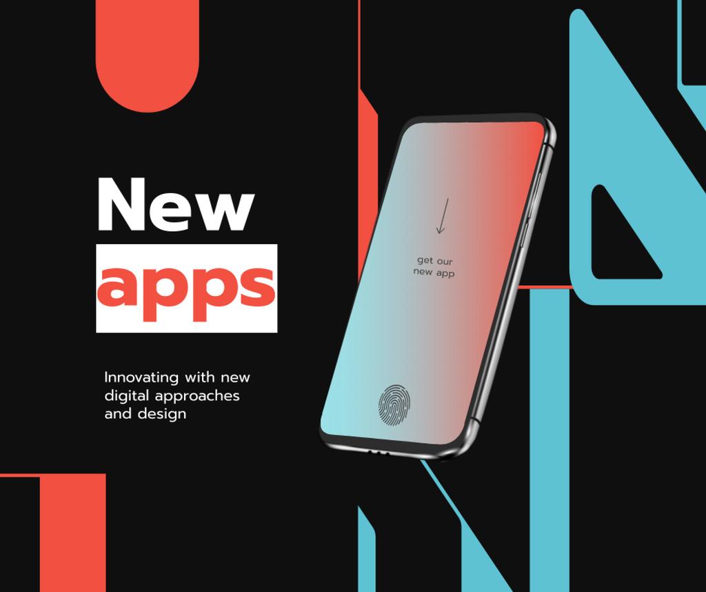 Ontwerpsjabloon van Facebook van New Apps Ad with Modern Smartphone