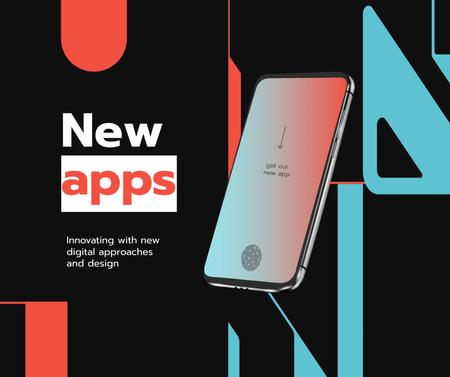 New Apps Ad with Modern Smartphone Facebook Modelo de Design