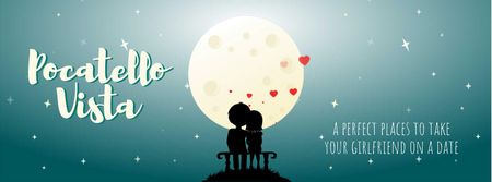 Plantilla de diseño de Lovers sitting in the Moonlight on Valentine's Day Facebook Video cover