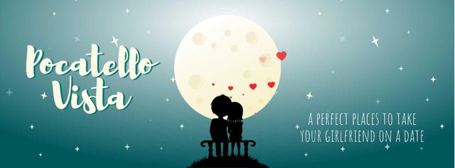 Modèle de visuel Lovers sitting in the Moonlight on Valentine's Day - Facebook Video cover