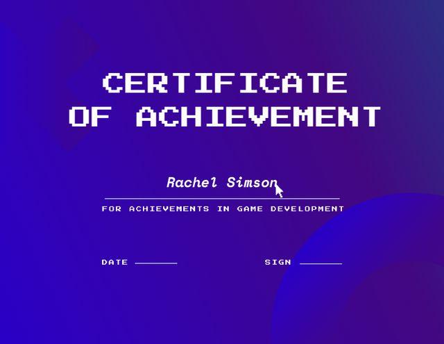 Ontwerpsjabloon van Certificate van Achievement in Game Development Award
