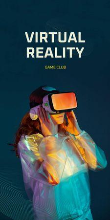 Ontwerpsjabloon van Graphic van Virtual Reality Game Club Ad with Woman in Glasses