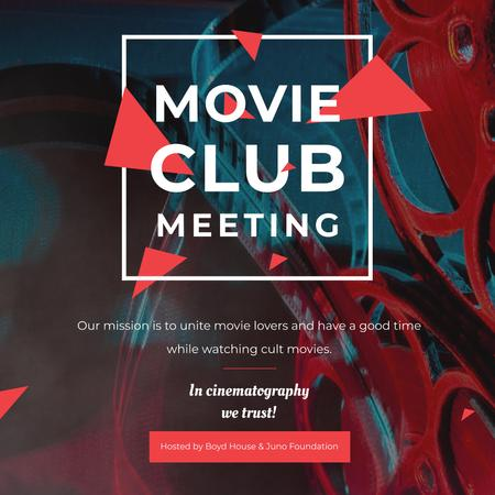 Ontwerpsjabloon van Instagram van Movie club meeting Announcement