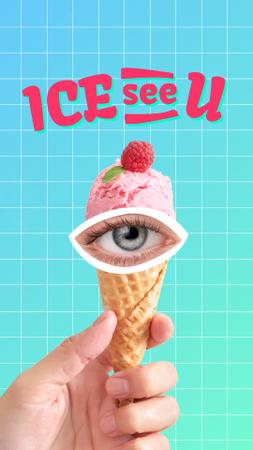 Funny Illustration with Human Eye on Ice Cream Instagram Story – шаблон для дизайну