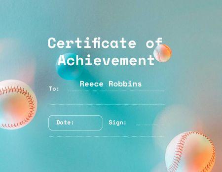 Baseball Achievement Award with Balls Certificate Design Template