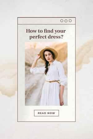Wedding Dresses Ad with Beautiful Bride Pinterest Design Template