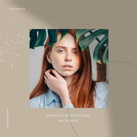 Beauty Masterclass Annoucement with Woman under Flower Instagram – шаблон для дизайна